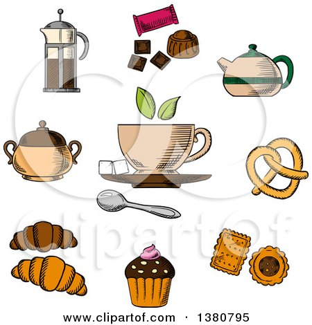 Clipart of Sketched Tea, Croissant, Candy, Pretzel and Chocolate - Royalty Free Vector Illustration by Vector Tradition SM