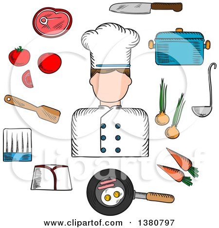 Clipart of a Sketched Chef Profession with Cook in Uniform Surrounded by Fresh Tomato, Onion and Carrot, Pan with Eggs and Bacon with Knife, Saucepan with Ladle and Meat Steak, Chef Hats and Spatula - Royalty Free Vector Illustration by Vector Tradition SM