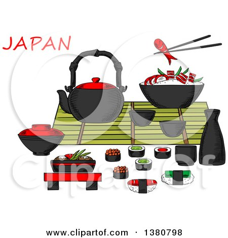 Clipart of Sketched Japanese Seafood and Drinks Set with Sashimi and Sushi Rolls Below a Table Set with a Teapot, Sake, Fresh Salad, Chopsticks and Bowl of Rice and Prawns - Royalty Free Vector Illustration by Vector Tradition SM