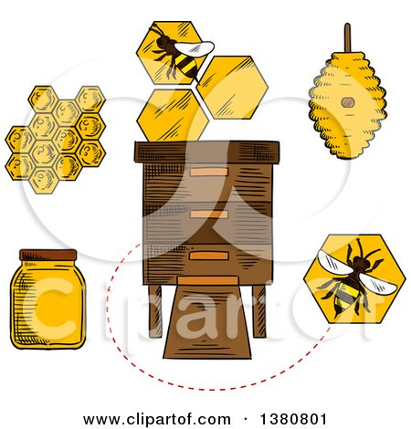 Clipart of Sketched Beekeeping Items and Bees - Royalty Free Vector Illustration by Vector Tradition SM