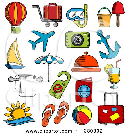 Clipart of Sketched Travel, Trip and Leisure Icons Set with Airplane and Luggage, Passport and Sun, Sea and Hotel Service, Yacht and Anchor, Cocktail and Hot Air Balloon, Beach Umbrella and Toys, Photo Camera and Diving Mask - Royalty Free Vector Illust by Vector Tradition SM
