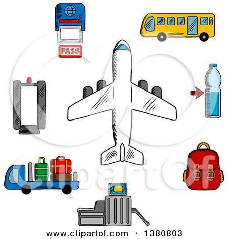 Clipart of Sketched Airport, Aviation and Airline Service Icons with Airplane Surrounded by Symbols of Passport Control, Metal Detector and Security Gate, Baggage Service and Passenger Bus, Drink and Hand Baggage - Royalty Free Vector Illustration by Vector Tradition SM
