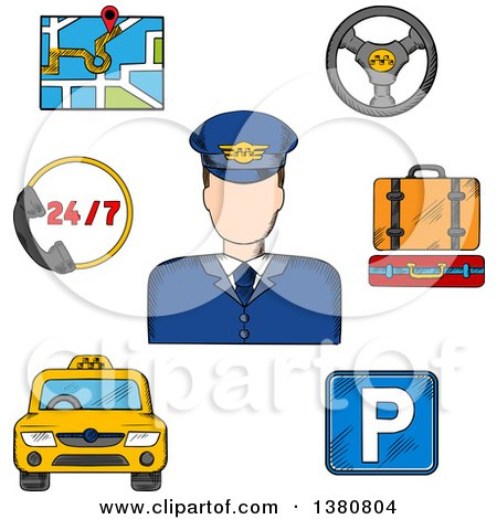 Clipart of a Sketched Driver Surrounded by Taxi Service Objects Such As Yellow Car, Parking Sign and Luggage, Steering Wheel and Navigation Map - Royalty Free Vector Illustration by Vector Tradition SM