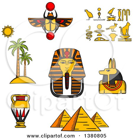Clipart of Sketched Giza Pyramids, Golden Mask of Pharaoh and Ancient Hieroglyphics, Scarab Amulet and Anubis God, Amphora and Landscape of Palm Trees with Sun - Royalty Free Vector Illustration by Vector Tradition SM