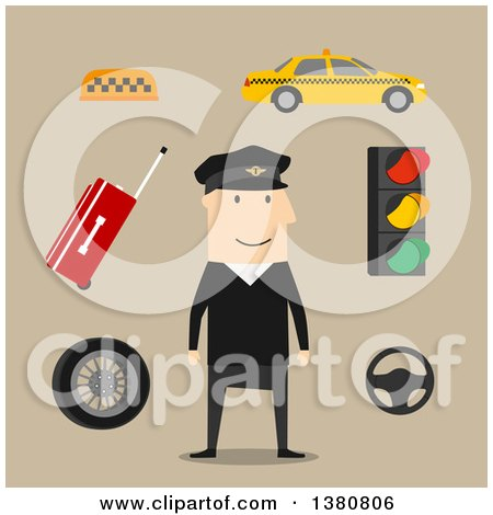 Clipart of a Flat Design Taxi Driver, Yellow Car and Luggage, Steering Wheel and Navigation Map, Traffic Light and Checkered Roof Sign, on Brown - Royalty Free Vector Illustration by Vector Tradition SM