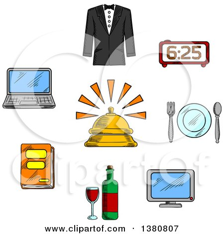 Clipart of Sketched Travel and Hotel Luxury Service Icons with Reception Bell and High Quality Room Service Symbols - Royalty Free Vector Illustration by Vector Tradition SM