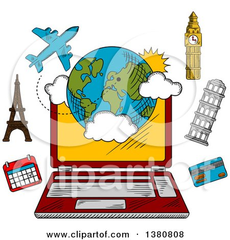 Clipart of a Sketched Laptop Computer and Travel Booking Items - Royalty Free Vector Illustration by Vector Tradition SM