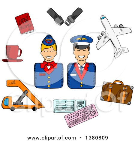 Clipart of a Sketched Stewardess and Pilot in Uniforms Surrounded Flight Pictograms Showing Passport, Suitcase, Plane, Seat Belt, Tickets and Cup of Coffee - Royalty Free Vector Illustration by Vector Tradition SM