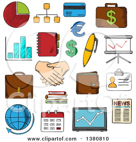 Clipart of Sketched Business, Finance and Office Icons with Financial Reports and Money, Handshake and Chart, Briefcases and Laptop, News and Globe, Calendar, Pen and Organizer - Royalty Free Vector Illustration by Vector Tradition SM