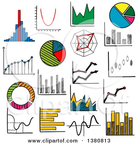 Clipart of Sketched Graphs and Charts - Royalty Free Vector Illustration by Vector Tradition SM