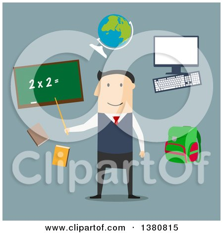 Clipart of a Flat Design Male Teacher by Blackboard with Chalk Formula, Books and Pen, Laboratory Flasks and School Bag, Exercise Book with Geometric Figures and Triangle Ruler, on Blue - Royalty Free Vector Illustration by Vector Tradition SM
