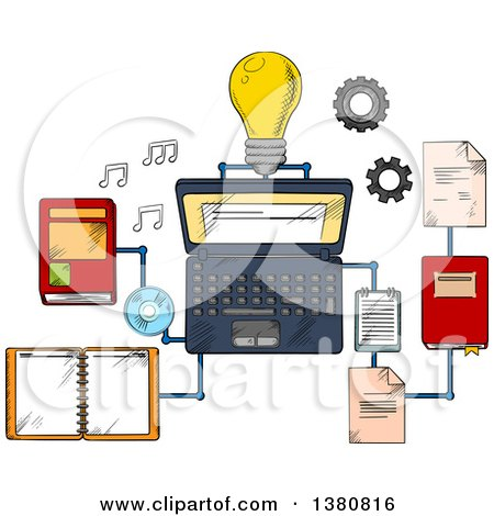 Clipart of Sketched Web Education or E-learning Technology Icons with Laptop Computer and Light Bulb Surrounded by a Variety of Interconnected Books - Royalty Free Vector Illustration by Vector Tradition SM