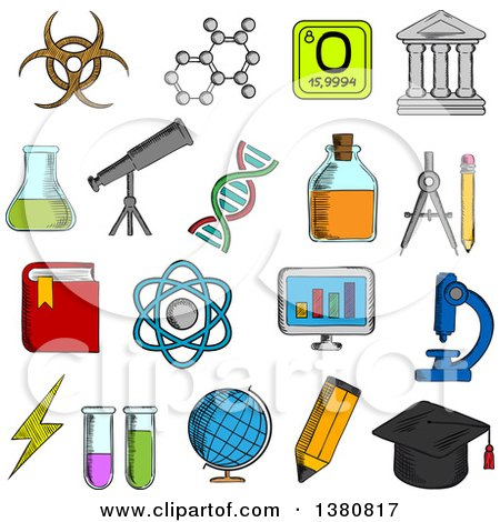 Clipart of Sketched Science and Education Icons with College and Book, Laboratory Glasses and Computer, Microscope and Globe, Graduation Cap and Pencil, Compasses and Dna, Atom and Biohazard Sign, Electricity and Oxygen - Royalty Free Vector Illustratio by Vector Tradition SM