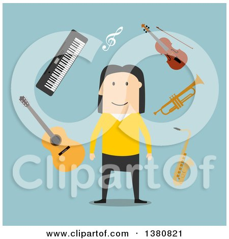 Clipart of a Flat Design White Male Musician with Instruments on Blue - Royalty Free Vector Illustration by Vector Tradition SM