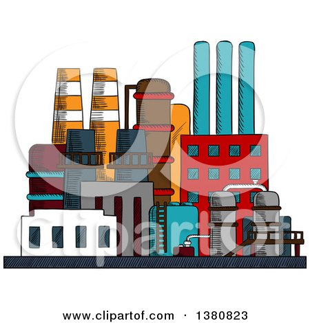 Clipart Of A Sketched Factory Building Royalty Free Vector Illustration