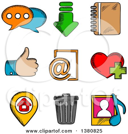 Clipart of Sketched Multimedia Web Icons Set with Chat, Download, Notebook, Like, E-mail, Home, Favorite, Media and Bin Symbols - Royalty Free Vector Illustration by Vector Tradition SM