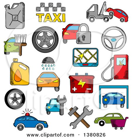 Clipart of Sketched Car and Repair Service Icons Set with Car Sale Symbol, Towing, Paint and Washing, Repair and Tire Service, Taxi, Fuel Jerrycan and Gas Station, Wheel and Navigation, Battery and Traffic Police, Security System - Royalty Free Vector by Vector Tradition SM