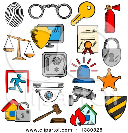 Clipart of Sketched Security Icons - Royalty Free Vector Illustration by Vector Tradition SM
