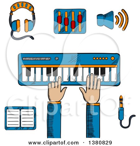 Clipart of a Sketched Person Playing an Electronic Keyboard, Earphones and Volume Sliders, Megaphone, Tablet or MP3 Player and a Sound Jack or Plug - Royalty Free Vector Illustration by Vector Tradition SM