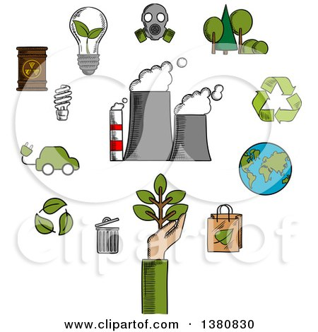 Clipart of Sketched Environment and Ecological Conservation Icons with Recycling, Electric Cars, Green Leaves, Eco-friendly Energy with a Radiation Symbol, Gas Mask and Industrial Chimney Belching Fumes - Royalty Free Vector Illustration by Vector Tradition SM