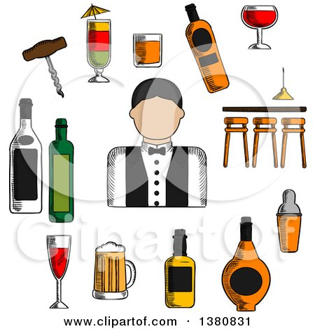 Clipart of a Sketched Male Bartender, Counter, Alcohol Bottles and Shaker, Corkscrew and Cocktails, Beer Tankard and Wine Glass, Barman in Uniform with Bow Tie - Royalty Free Vector Illustration by Vector Tradition SM