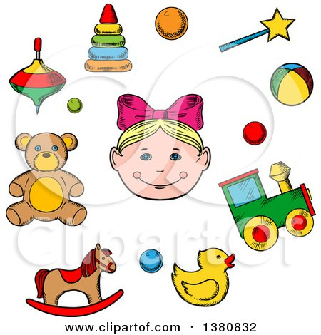 Clipart of a Sketched Girl Surrounded by Her Toys As Bear, Horse, Duck, Rattle, Train, Ball, Pyramid and Whirligig - Royalty Free Vector Illustration by Vector Tradition SM