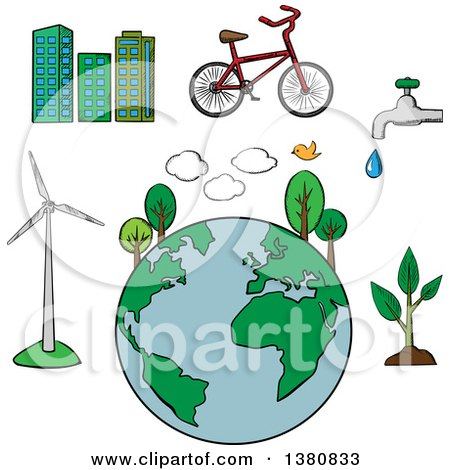 Clipart of Sketched Environment and Ecology Icons Set with Eco Friendly City, Tree and Bicycle, Green Energy and Natural Resources Protection - Royalty Free Vector Illustration by Vector Tradition SM