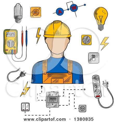 Clipart of a Sketched Electrician in Yellow Hard Hat, Electrical Household Supplies, Electric Tools and Equipments Symbols. for Industrial Design Usage - Royalty Free Vector Illustration by Vector Tradition SM