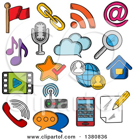 Clipart of Sketched Multimedia and Communication Icons with Smartphone, Microphone, Music and Video Player, Email and Search, Chat and Call Symbols, Cloud Storage, Favorite Star and Flag Pin, Home and Notebook, Rss Feed and Wi-fi Router - Royalty Free V by Vector Tradition SM