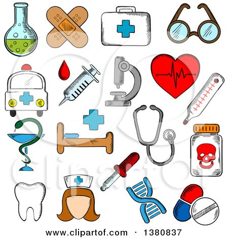 Clipart of Sketched Hospital and Pharmacy Signs, Nurse and Ambulance, First Aid Box and Pills, Syringe, Stethoscope and Heart Ecg, Tooth and Glasses, Dna, Medication and Microscope - Royalty Free Vector Illustration by Vector Tradition SM