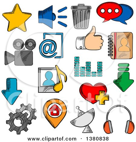 Clipart of Sketched Social Media Icons with Chat Speech Bubble and E-mail, Load and Thumb Up, Map Pin and Home Page, Favorite Star and Heart, Video and Contacts, Playlist and Equalizer, Trash and Gear, Headphones and Speaker - Royalty Free Vector Illust by Vector Tradition SM