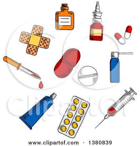 Clipart of Sketched Capsules and Blister of Pills, Nose and Throat Spray, Syringe, Drops Bottle and Dropper, Sticking Plaster and Ointment Tube - Royalty Free Vector Illustration by Vector Tradition SM