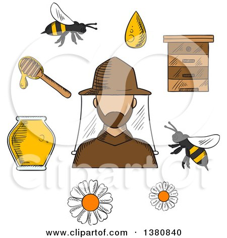 Clipart of a Sketched Beekeeper in Hat and Apiculture Symbols Around Him Including Honey Jar, Flying Bees, Flowers, Wooden Beehive and Dipper with Drop of Liquid Honey - Royalty Free Vector Illustration by Vector Tradition SM