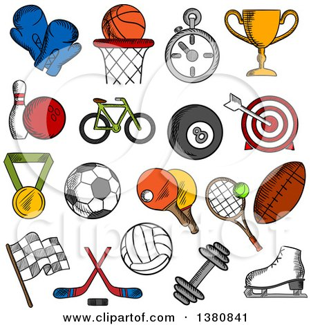 Clipart of Sketched Sport and Fitness Icons with Sport Balls and Items, Trophy Cup and Bicycle, Racing Flag and Ice Skate, Boxing Glove and Stopwatch, Dumbbell and Medal - Royalty Free Vector Illustration by Vector Tradition SM