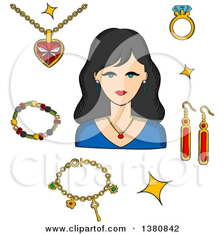 Clipart of a Sketched Woman Surrounded by Fashion Gold with Gemstones, Precious Accessories, Chain with Heart Pendant, Diamond Ring and Long Earrings, Bracelets and Shining Stars - Royalty Free Vector Illustration by Vector Tradition SM