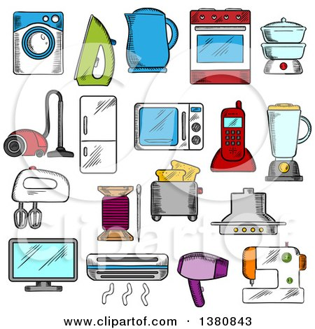 Clipart of Sketched Appliances Icons with Microwave and Vacuum, Iron and Refrigerator, Toaster and Tv Set, Washing and Sewing Machines, Blender and Mixer, Fan and Stove, Kettle and Air Conditioner, Telephone and Steamer - Royalty Free Vector Illustratio by Vector Tradition SM