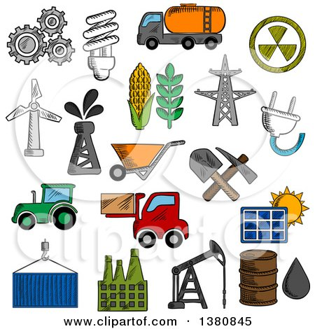 Clipart of Sketched Industry and Energy Icons with Oil Pump and Barrel, Refinery Factory and Tractor, Corn and Wheat, Radiation, Solar Panel, Gears, Fuel and Light Bulb, Shovel and Wind Turbine, Electricity Plant - Royalty Free Vector Illustration by Vector Tradition SM