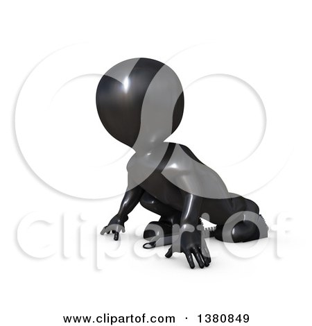 Clipart of a 3d Black Man Runner on Starting Blocks, on a White Background - Royalty Free Illustration by KJ Pargeter