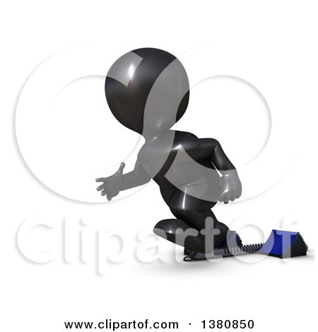 Clipart of a 3d Black Man Sprinter Taking off on Starting Blocks, on a White Background - Royalty Free Illustration by KJ Pargeter