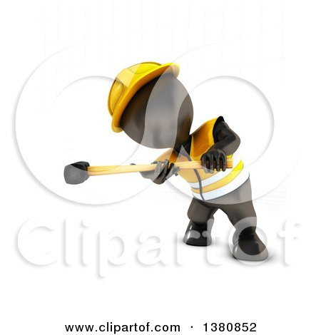 Clipart of a 3d Black Man Construction Worker Swinging a Sledgehammer, on a White Background - Royalty Free Illustration by KJ Pargeter