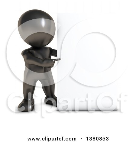 Clipart of a 3d Black Man Pointing to a Blank Sign, on a White Background - Royalty Free Illustration by KJ Pargeter