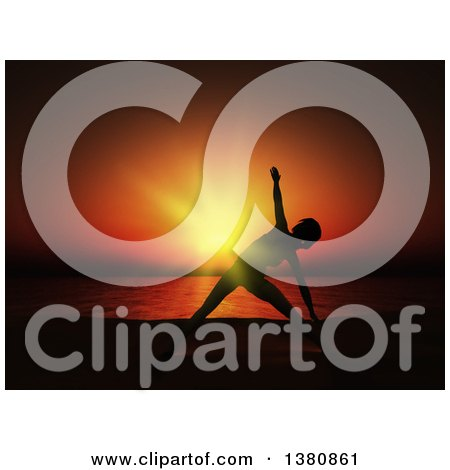Clipart of a Fit Silhouetted Woman Doing Yoga Against a Deep Red and Orange Sunset with an Ocean View - Royalty Free Illustration by KJ Pargeter