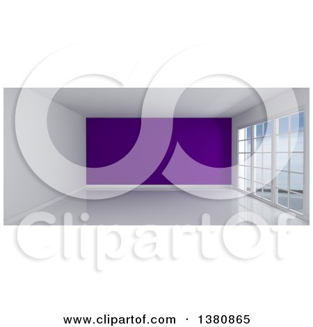 Clipart of a 3d Empty Room Interior with Floor to Ceiling Windows, White Flooring, and a Purple Feature Wall - Royalty Free Illustration by KJ Pargeter
