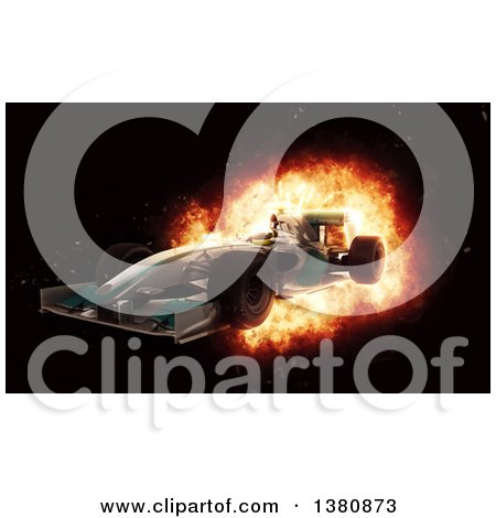 Clipart of a 3d F1 Race Car with Speed Fiery Effect - Royalty Free Illustration by KJ Pargeter