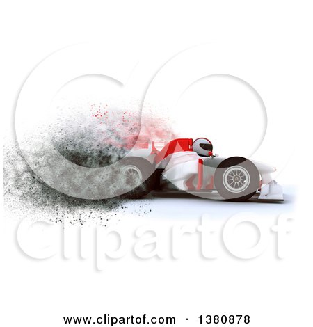 Clipart of a 3d F1 Race Car with Speed Explosion Effect - Royalty Free Illustration by KJ Pargeter