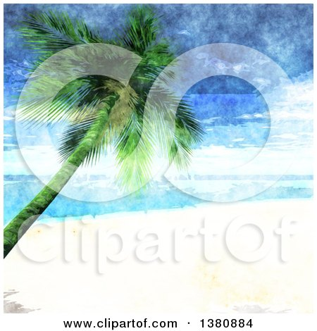 Clipart of a Watercolor Painted Tropical Beach with White Sands and a Leaning Palm Tree - Royalty Free Vector Illustration by KJ Pargeter