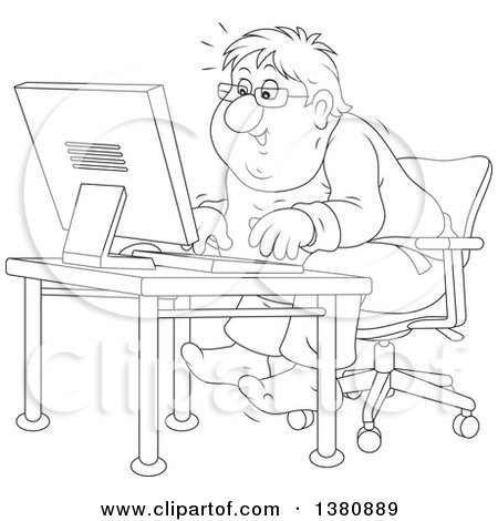 Clipart of a Black and White Lineart Chubby Man Looking Excited and Sitting at a Computer Desk - Royalty Free Vector Illustration by Alex Bannykh