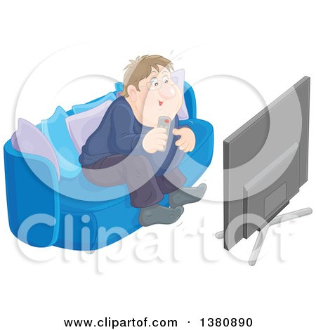 Clipart of a Chubby White Man Getting Excited While Watching Tv - Royalty Free Vector Illustration by Alex Bannykh