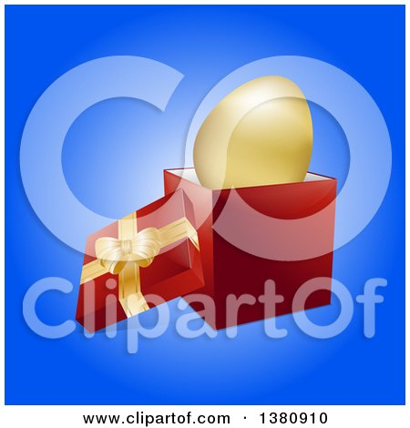 Clipart of a 3d Golden Easter Egg in an Open Gift Box over Blue - Royalty Free Vector Illustration by elaineitalia