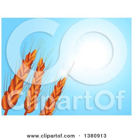 Clipart of Wheat Stalks Under a Blue Sunny Sky - Royalty Free Vector Illustration by elaineitalia